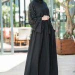 مدل مانتو مجلسی مشکی بلند زنانه کار شده اینستاگرام گیپور کروپ
